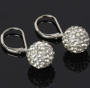 Clear White Ball 10mm Earrings Secure Lever Back Findings
